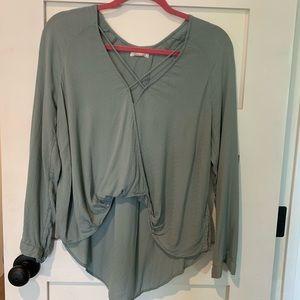light blue, cross-front blouse